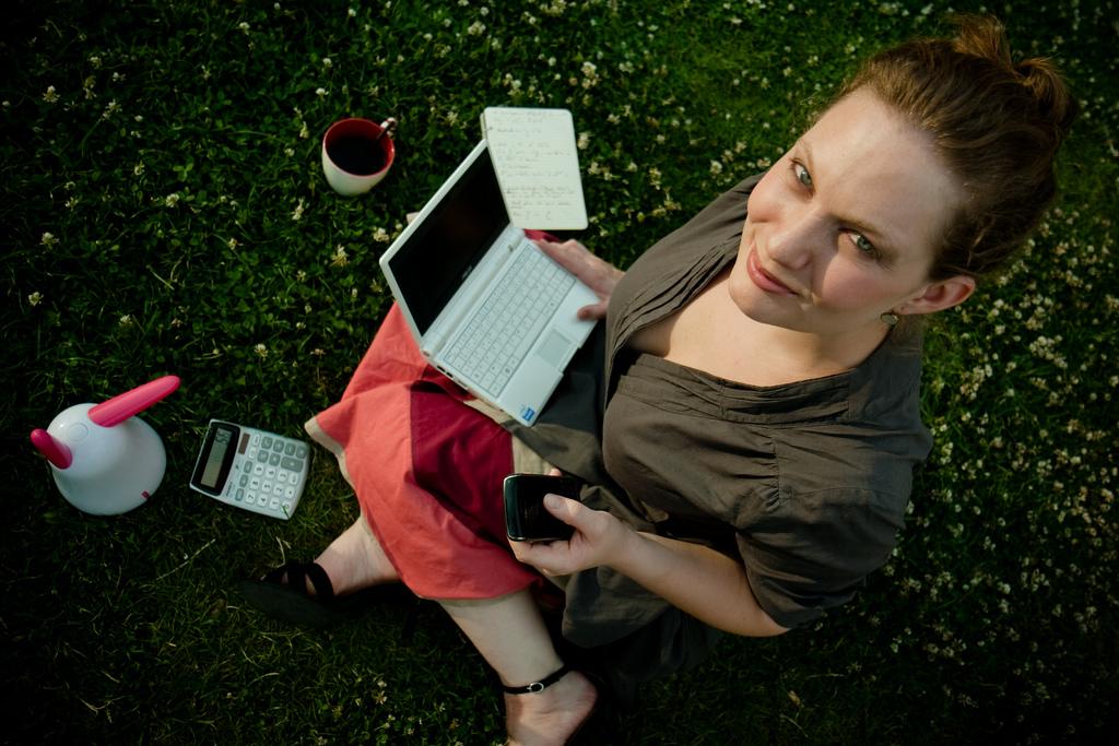 laptop, women, smile