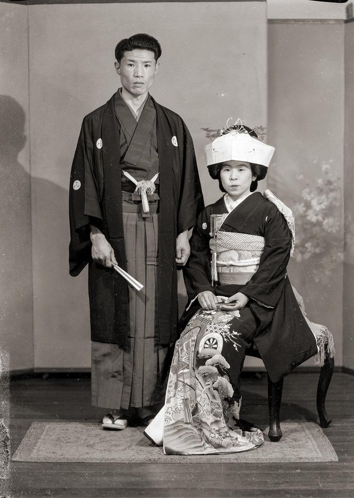 kimono, couple, wedding